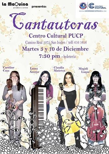 Cartel del concierto «Cantautoras» en Lima.