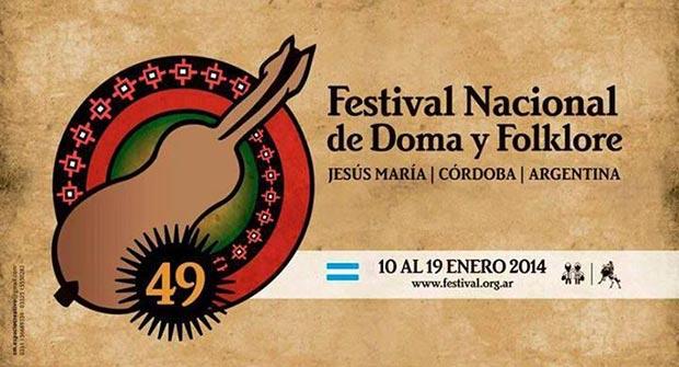 Cartel del 49 Festival Nacional de Doma y Folklore de Jesús María 2014.