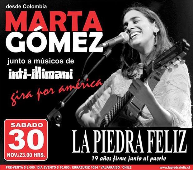 Cartel del concierto de Marta Gómez e Inti-Illimani en La piedra feliz de Valparaíso.