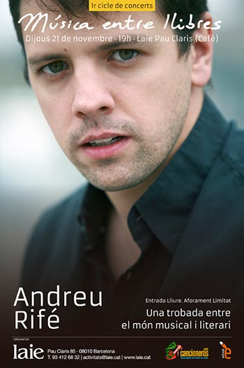 Cartel del concierto de Andreu Rifé en «Música entre libros».