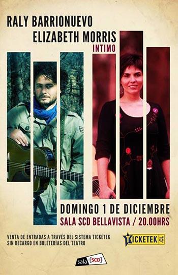 Cartel del concierto «Íntimo» de Raly Barrionuevo y Elizabeth Morris.