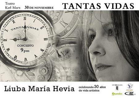 Cartel del concierto de Liuba María Hevia en el teatro Karl Marx de La Habana el 30 de noviembre.
