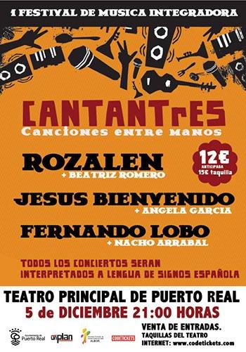 Cartel del I Festival de música integradora «CANTANtRES, canciones entre manos».