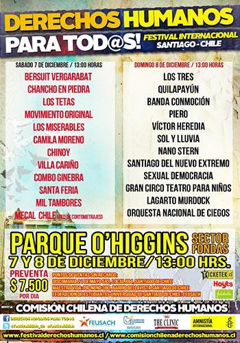 Cartel del Festival Internacional Derechos Humanos para tod@s Santiago de Chile.