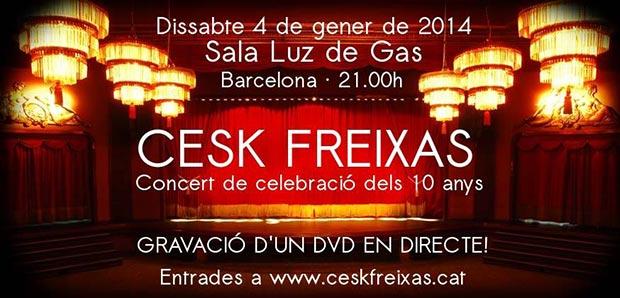 Cartel del concierto de celebración de 10 años de trayectoria de Cesk Freixas.