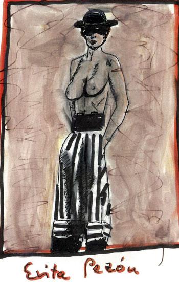 «Evita Pezón», ilustración del nuevo libro de Joaquín Sabina «Muy personal». © Joaquín Sabina