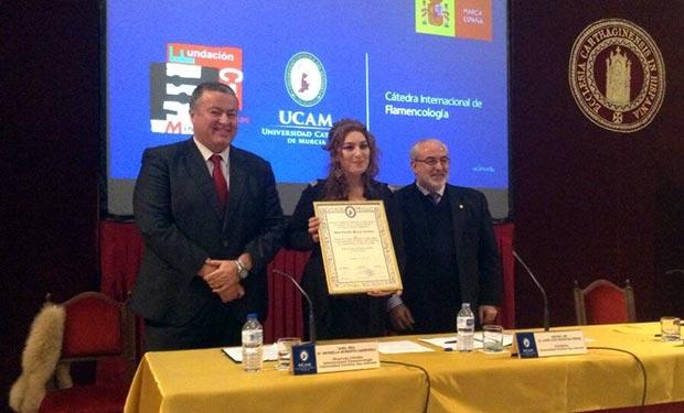 Estrella Morente en su nombramiento como directora de la Cátedra de Flamencología. © UCAM