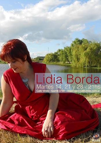Cartel de los conciertos de Lidia Borda en el Café Vinilo.