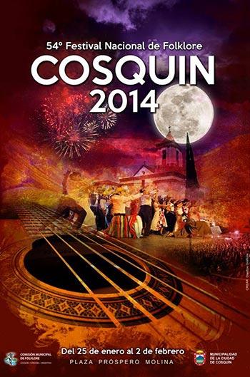 Cartel del 54 Festival Nacional de Folclore de Cosquín 2014.