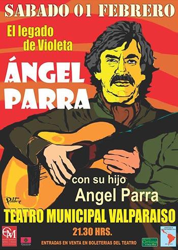 Cartel del concierto «El legado de Violeta» de Ángel Parra, padre e hijo.