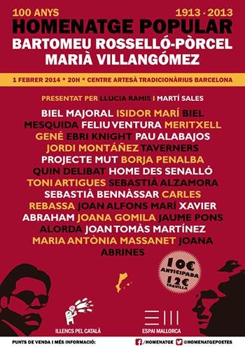 Cartel del homenaje popular a Bartomeu Rosselló-Pòrcel y Marià Villangómez.