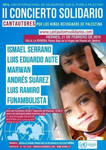 Cartel del concierto por los niños refugiados de Palestina.