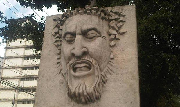 Escultura del rostro de Alí Primera inaugurada ayer domingo en Los Teques, Estado de Miranda, Venezuela, a propósito de conmemorarse 29 años de su desaparición física. © AVN