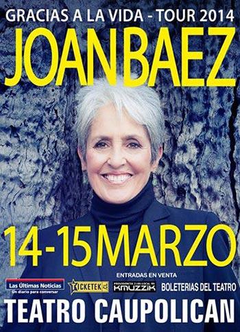 Joan Baez en el teatro Caupolicán de Santiago (Chile),