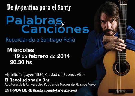 Trovadores argentinos homenajean a Santiago Feliú.