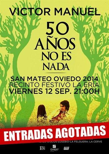 Cartel de concierto «50 años no es nada» de Víctor Manuel.