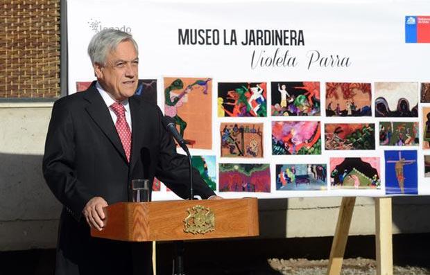 El Presidente de la República de Chile, Sebastián Piñera visitó las obras de construcción del Museo La Jardinera en honor a Violeta Parra © Alex Ibáñez /Prensa Presidencia