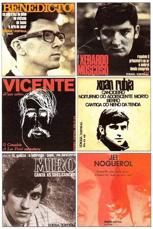 Primeros discos singles publicados por los componentes del colectivo «Voces Ceibes», grabados a finales de los 60 y principios de los 70, por la empresa catalana EDIGSA, con el sello XISTRAL creado para difundir la obra de los cantautores gallegos.