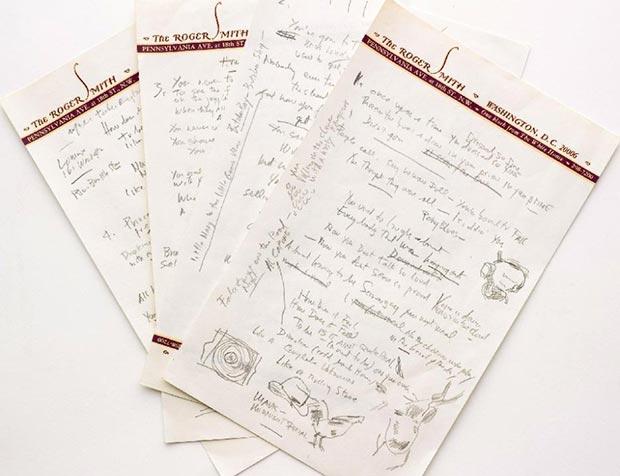 Manuscrito original de cuatro páginas de la letra de «Like a Rolling Stone», de Bob Dylan.