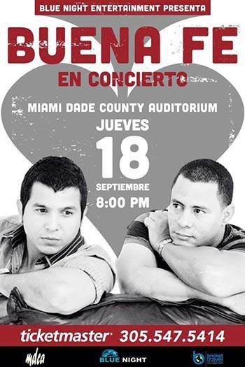 Buena fe, otra vez en Miami, ahora con Frank Delgado, el jueves 18 de septiembre en el Miami Dade County Auditorium.