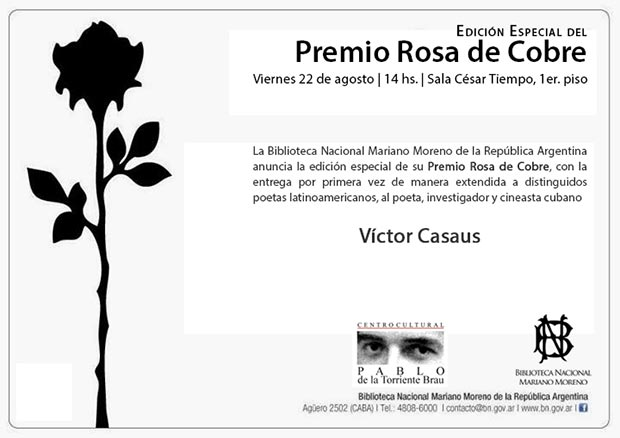 Víctor Casaus recibe el Premio Rosa de Cobre en Argentina
