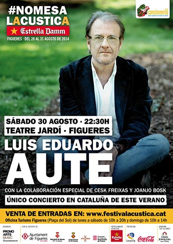 Cartel del concierto que Luis Eduardo Aute ofrecerá en el Festival Acústica de Figueres para recordar los bombardeos franquistas de hace 75 años.