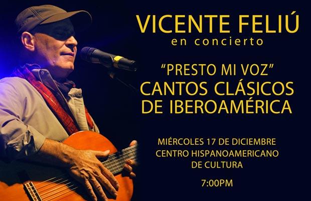 Vicente Feliú «prestará su voz» en concierto a grandes clásicos iberoamericanos.