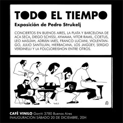 Pedro Strukelj presenta en Buenos Aires una exposición de ilustraciones de conciertos.