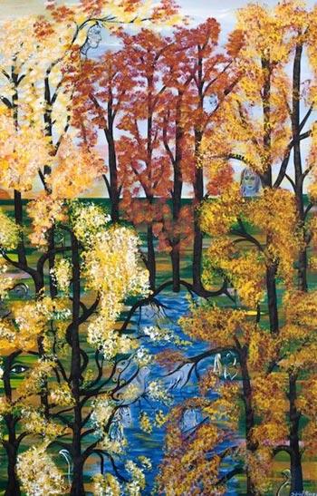Ilustración de la portada de «Canción de Otoño» realizado por Silvia R. Rivero en acrílico sobre lienzo.