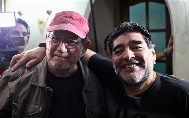 Silvio Rodríguez y Diego Armando Maradona.