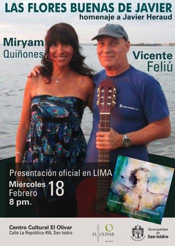 Vicente Feliú y Miryam Quiñones presenta en Lima «Las flores buenas de Javier».