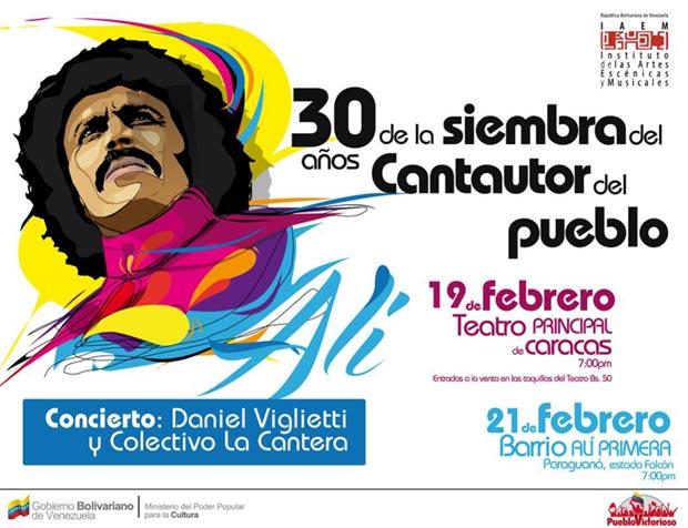 Daniel Viglietti conmemora en Caracas el 30 aniversario de la muerte de Alí Primera.