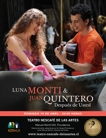 Luna Monti y Juan Quintero presentan «Después de usted» en Chile.