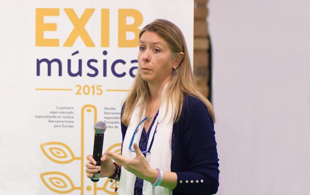 Adriana Pedret, directora del EXIB, en el lanzamiento de las redes profesionales RICMU (Red Iberoamericana de Comunicadores Musicales) y RedIGM (Red Iberoamericana de Gestores Musicales) el pasado 9 de mayo. © Xavier Pintanel