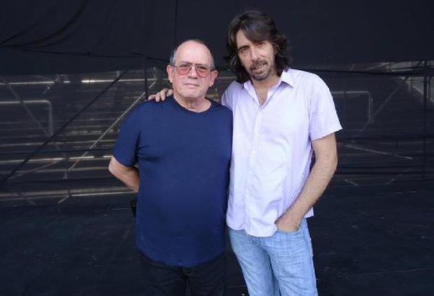 Silvio Rodríguez con Fernando Rabih en la última gira argentina del cubano.
