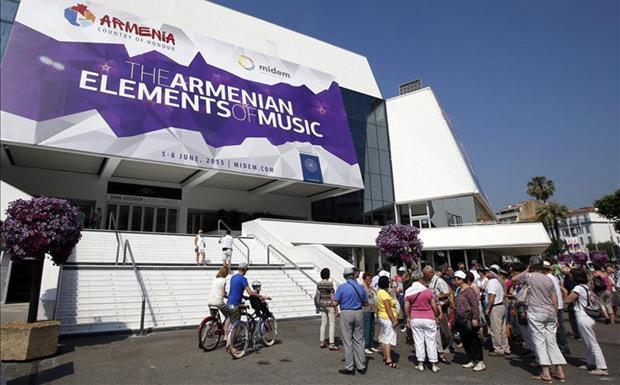 Vista general de la entrada al Mercado Internacional del Disco y de la Edición Musical (MIDEM), que arranca en Cannes, Francia. EFE © EFE