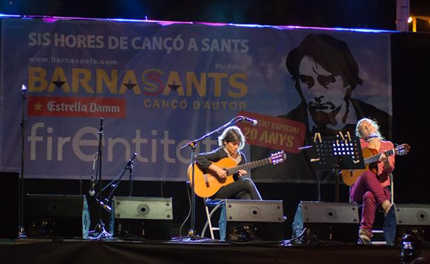 La guitarrista sarda Caterinangela Fadda, parte importante en la creación del disco «Fil de coure», acompañó a de Rusó Sala en el concierto. © Xavier Pintanel