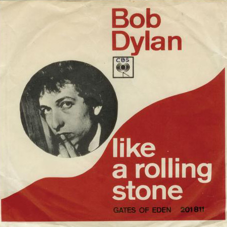 Portada del single «Like a rolling stone» de Bob Dylan.