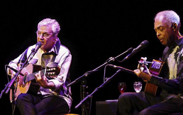 Caetano Veloso y Gilberto Gil hace escasos días en el Teatro Real de Madrid. © EFE