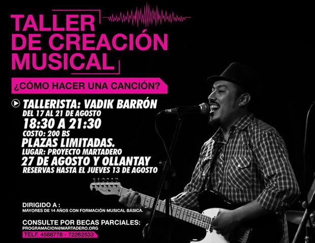 Vadik Barrón dictará taller de creación musical «¿Cómo hacer una canción?».