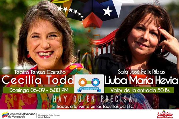 Cecilia Todd y Liuba María Hevia presentaran «Hay quien precisa» en Venezuela.