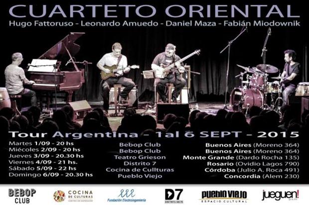 Fattoruso y el Cuarteto Oriental, en una inusual gira por la Argentina.