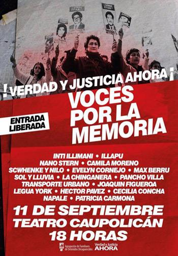 «Voces por la memoria» este 11 de septiembre en Santiago de Chile.
