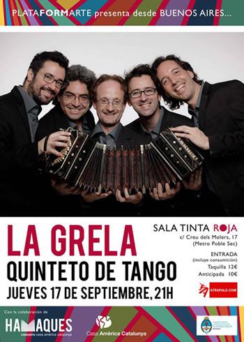 La Grela Quinteto de Tango representará a Buenos Aires en Barcelona.