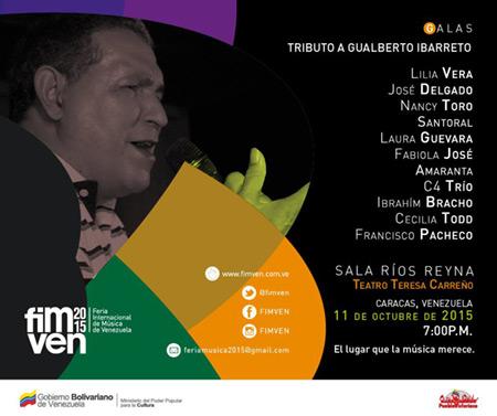 Un tributo Gualberto Ibarreto clausurará el FIMVEN 2015