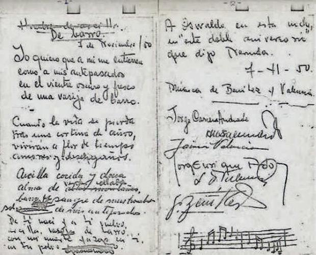 Documento con las firmas de los autores de la «Vasija de barro».