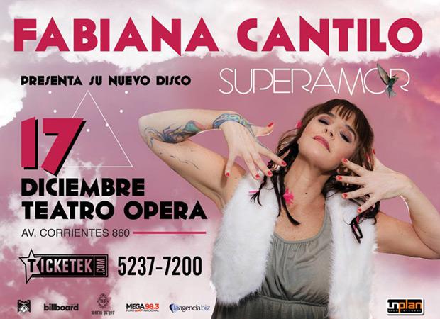 Fabiana Cantilo presentará «Superamor» en el Teatro Ópera de Buenos Aires.