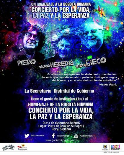 Concierto por la vida, la paz y la esperanza con Gieco, Heredia y Piero.