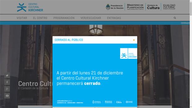 Desmienten el cierre del Centro Cultural Kirchner.