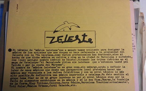 Hoja de promocional del sello Zeleste-Edigsa de 1976 donde Xavier Patricio Pérez define por primera vez el término «música layetana», su «marca» que hizo más fortuna. © Imagen cedida por la familia de Gato Pérez